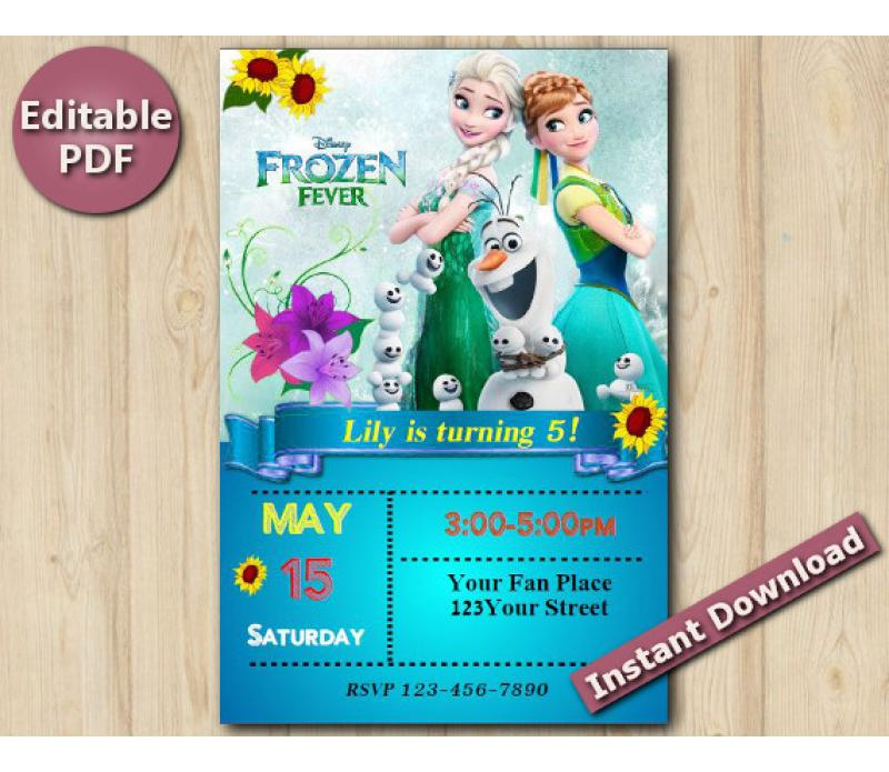 Frozen Fever Editable Invitation with Back 4x6\