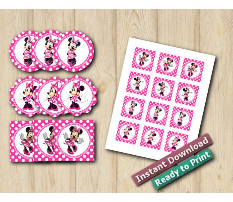 Instant Download Minnie Mouse Stickers 2in / Cupcake Toppers / Favor