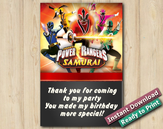 Printable Power Rangers Thank You Card 4x6