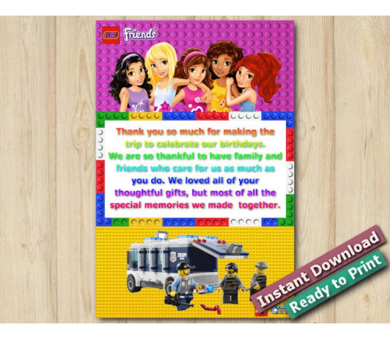 Twin Lego Friends and Lego Police Thank you Card - DIY Printables