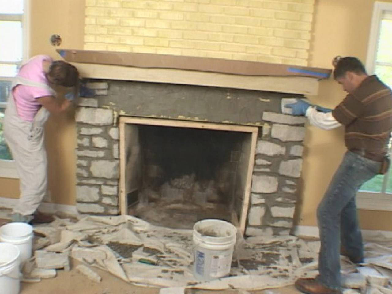 Fireplace Stone Install A Fireplace Mantel And Add Stone Veneer Facing How Tos Diy