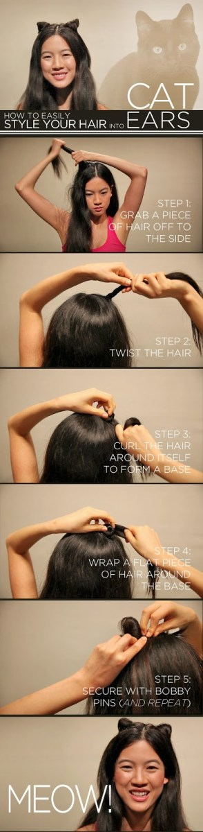Style your Hair in to Cat Ears - DIY