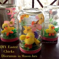 DIY Easter Chicks Diorama in Mason Jars from Imagination Station