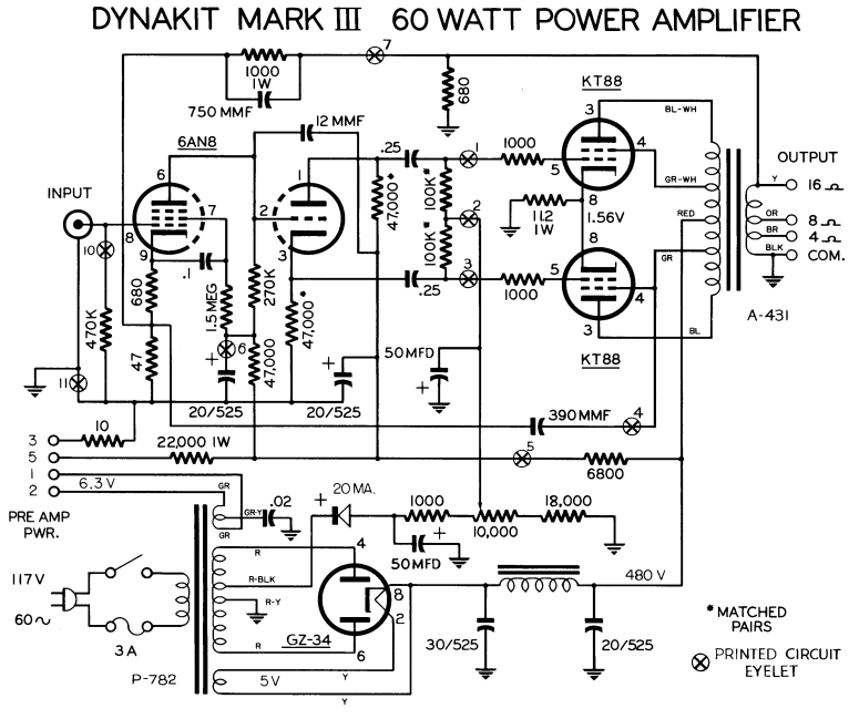 dynaco dynakit mark iii tube amplifier schematic and