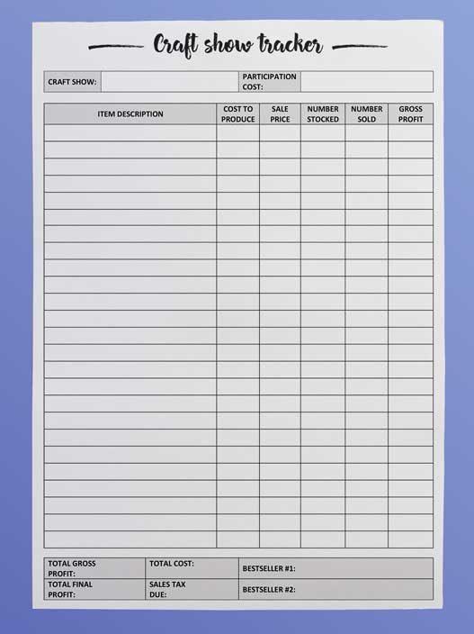 Craft fair inventory tracker - free printable - DIY Beauty Base
