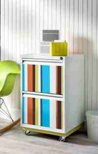 Colorful Striped DIY File Cabinet - diycandy.com