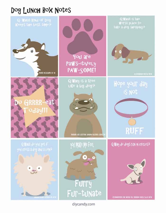 Dog Themed Lunch Box Notes are Super Cute - DIY Candy