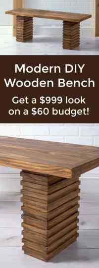 Crate and Barrel Inspired Modern Wooden Bench - diycandy.com