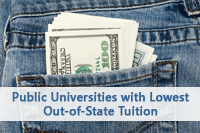pocket with money representing saving at colleges with low out-of-state tuition