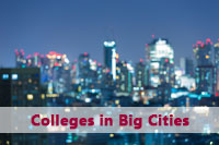 View of city at night representing appeal of colleges in big cities