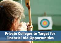 Aiming arrow to represent targeting best colleges for financial aid