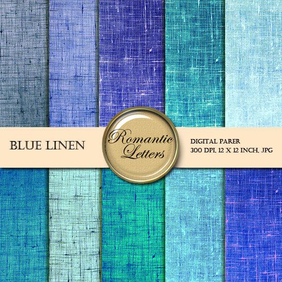 Digital paper pack linen blue texture digital scrapbook paper