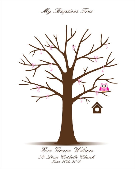 Personalized Fingerprint Tree \u2013 Christening, Baby Shower, Childs