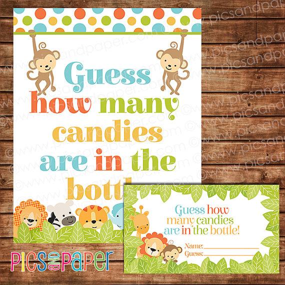 Safari Candy Guessing Game \u2013 Jungle Baby Shower Printable \u2013 Instant