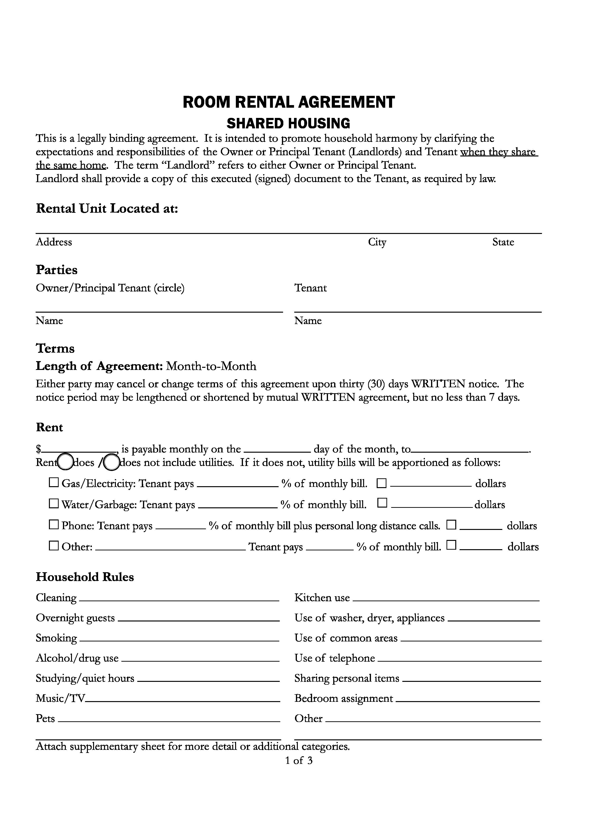 room rental agreement florida
