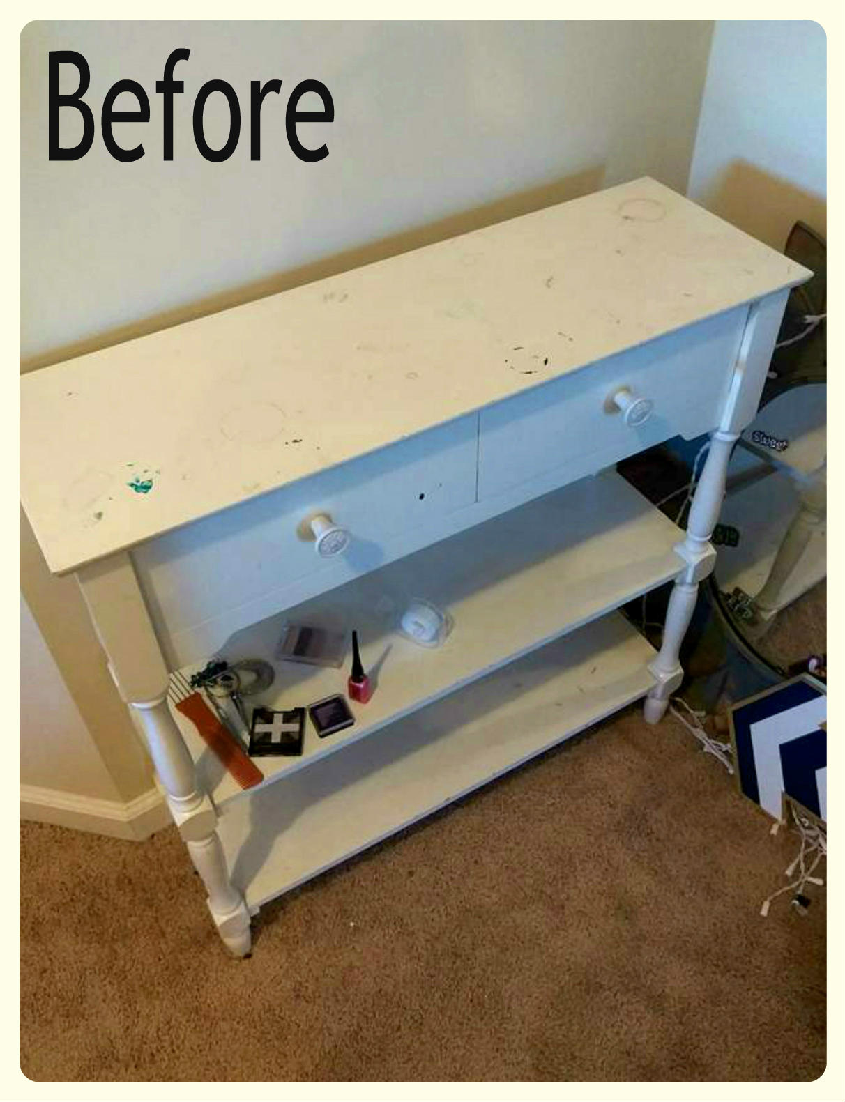 (Before) Glamorous Coral and Gold Table Makeover - by Uniquely Grace