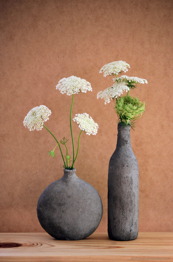 Ikea Glass Vase Hand-formed Cement (over Glass) Vases – Diy Furniture Studio