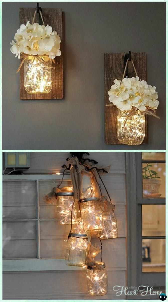Battery Chandelier Diy Christmas Mason Jar Lighting Craft Ideas [picture