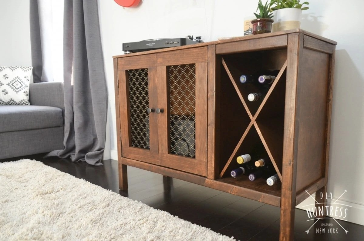 Diy Wine Cabinet Plans Diy Sideboard Record Cabinet With Wine Storage Free Plans