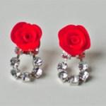 rose and rhinestone earrings