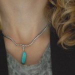 DIY turquoise spike necklace tutorial