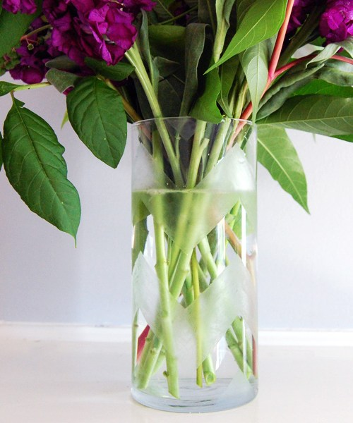 DIY chevron etched vase