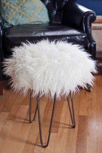 Make a Faux Fur Stool with Hairpin Legs - DIY in PDX