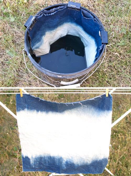 faux shibori bleached denim