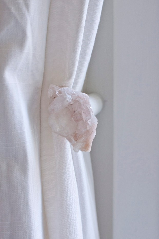 DIY crystal curtain tiebacks
