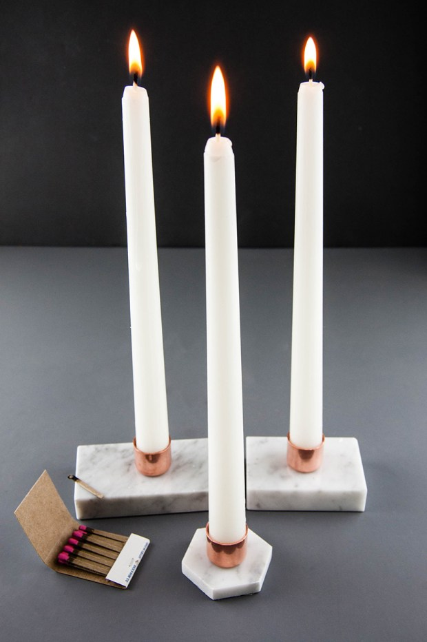DIY marble and copper candleholders