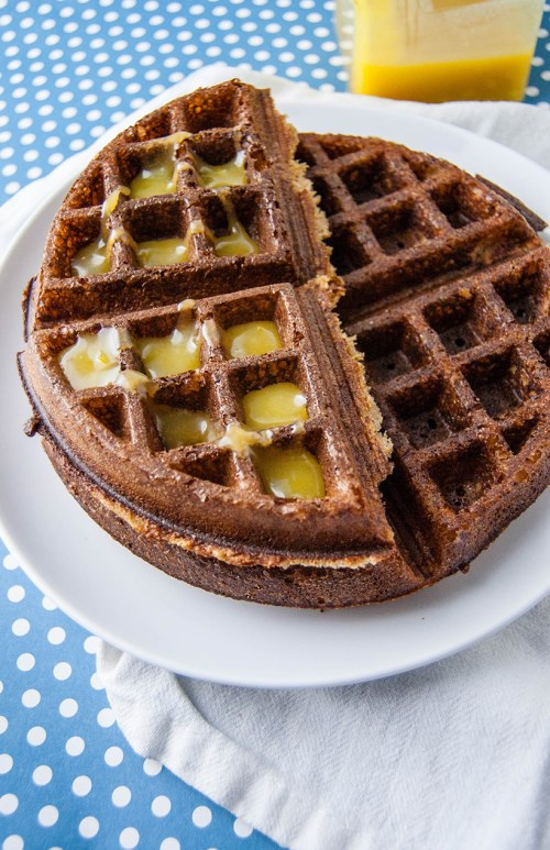 Overnight Gingerbread Waffles with Lemon Curd