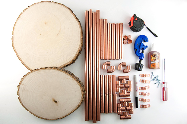 DIY copper pipe side table