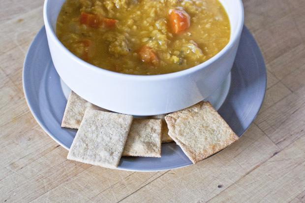 Red lentil soup + crackers recipe