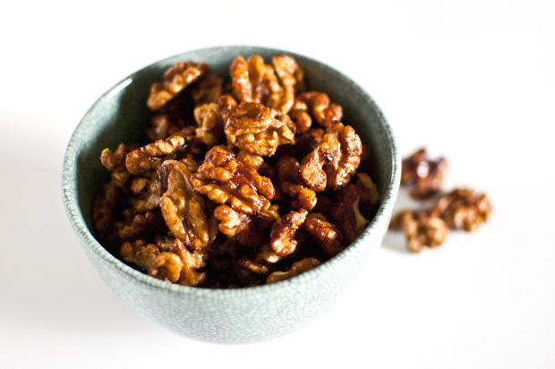 spiced maple glazed walnuts