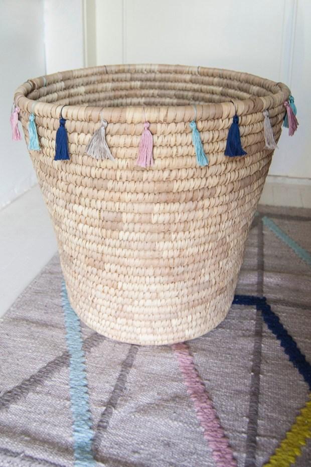 DIY tassel-trimmed basket