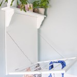 DIY laundry rack with shelf. This combination drying rack and shelf gives you a bit of extra storage with your drying space.