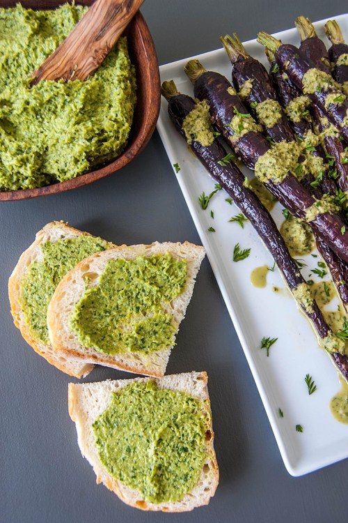 Roasted Carrots with Carrot Top and Garlic Scape Pesto - A great way to use produce you're not sure what to do with!
