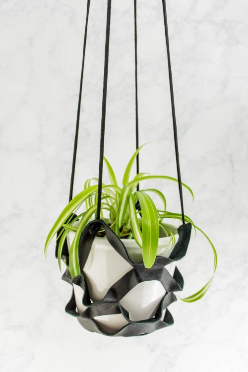 Leather Plant Hanger - Make this easy DIY leather plant hanger with this tutorial and template.
