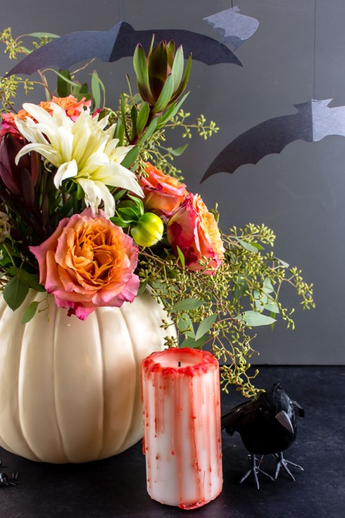 Halloween DIY decorations - Make a pumpkin planter/vase, blood-drip candle, and flock of bats