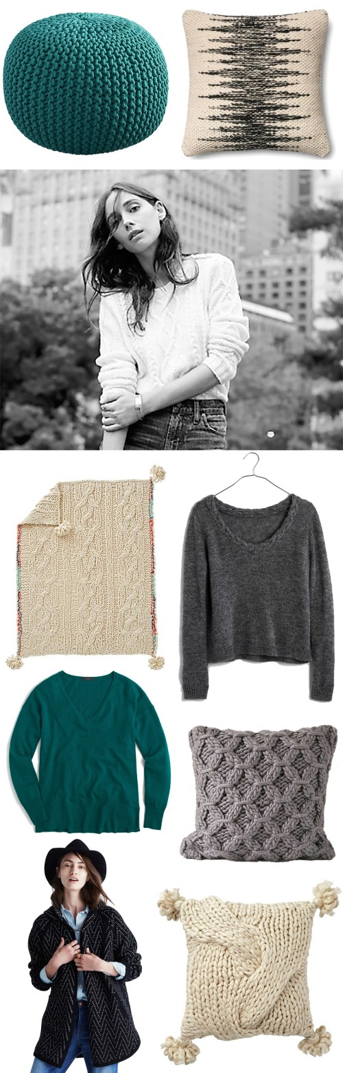 Cozy sweater knits for fall interiors and outfits