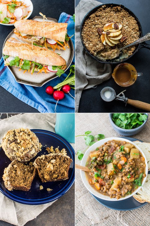 Tofu banh mi | Apple crisp with slow cooker whiskey salted caramel | Slow cooker lentil, kale, and carrot curry | Gingerbread apple muffins with walnut oat streusel topping