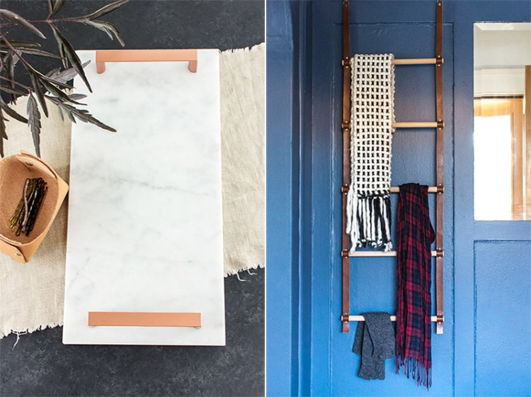 Marble tray with copper handle, and wood and leather storage ladder