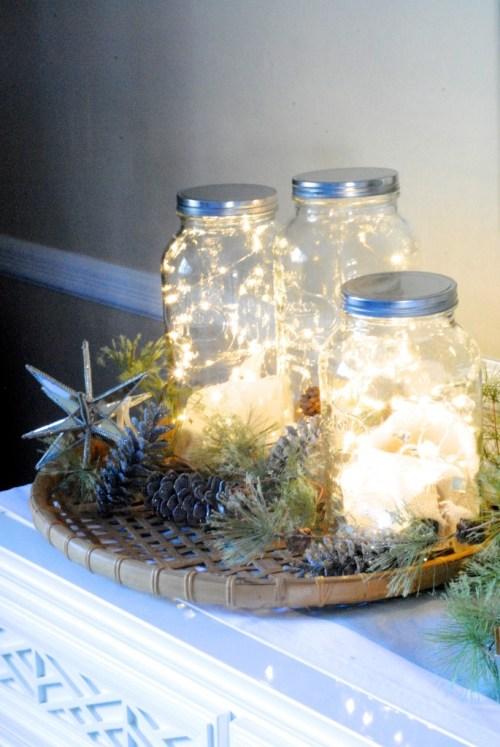Simple DIY holiday decor ideas using white lights: jars + lights