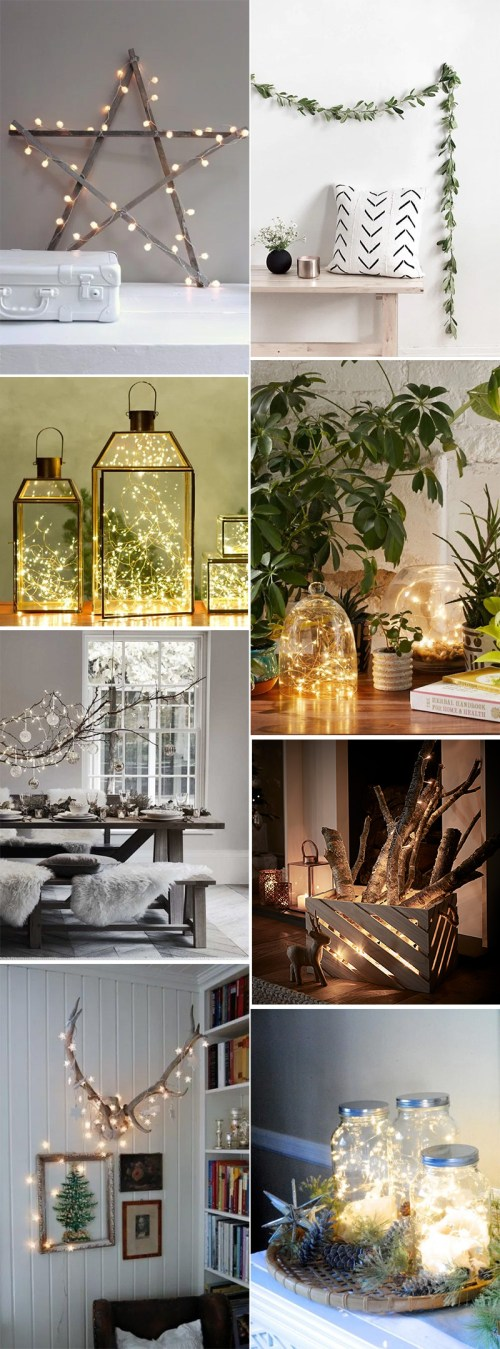 Simple DIY holiday decor ideas using white lights