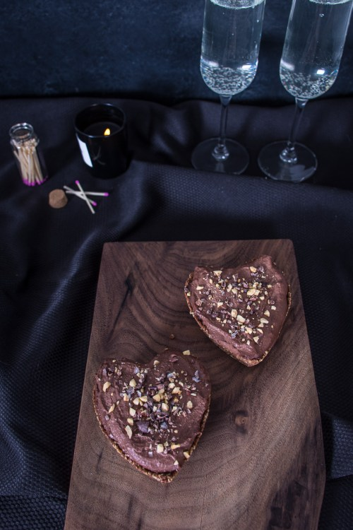These vegan chocolate mousse tarts with salted oat crust would make an amazing Valentine's Day dessert, but they're easy enough for an everyday treat