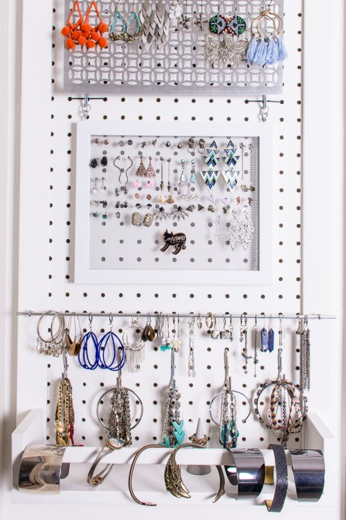 DIY jewelry storage solutions for how to store stud earrings, hoops, and earrings with hooks.