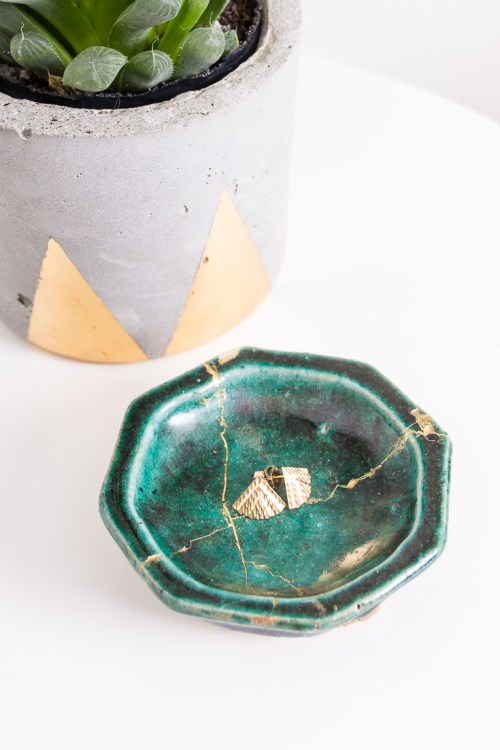 Broke a dish? Take your inspiration from the Japanese art of kintsugi, and highlight the repair with gold. A DIY kintsugi kit makes it easy.