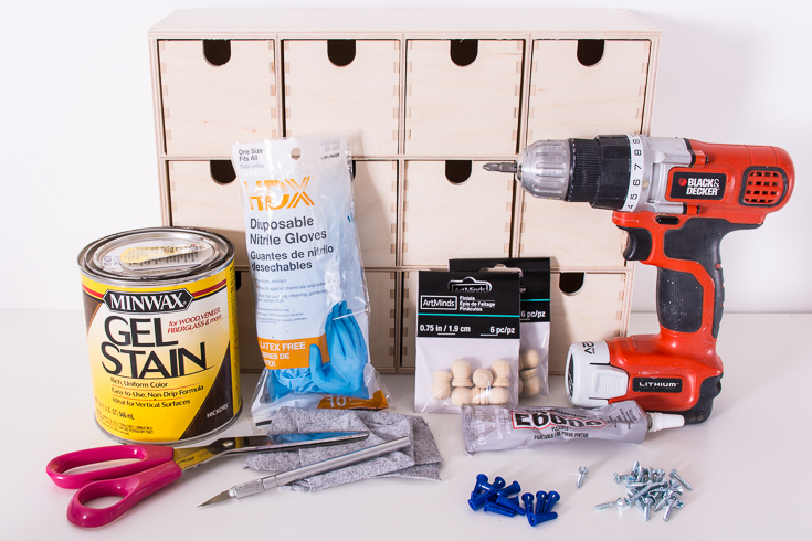 DIY plant drawer tools and supplies
