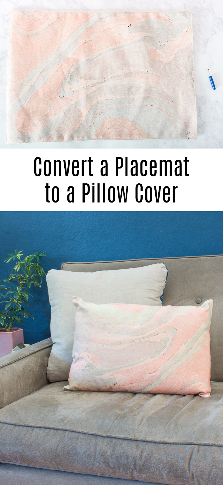 Turn a cute placemat into a cushion cover with this tutorial for placemat pillow cover conversion. #DIY #sewing