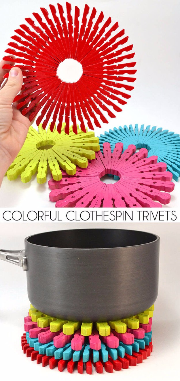 Easy crafts to make and sell colorful clothespin trivets cool homemade craft projects you